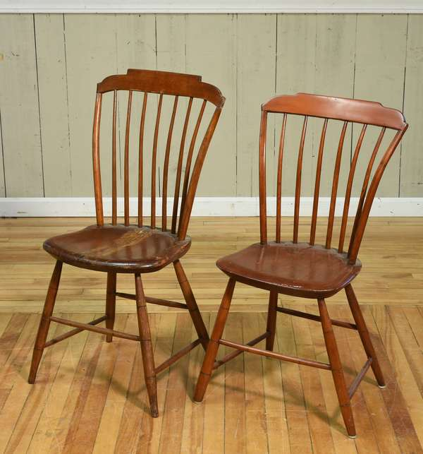 "Two 19th C. step-down Windsor chairs, 17""H seat height x 35.5""H overall and 16.5""H seat height x 33.5""H overall. Condition: wear and splitting to seat of larger example, scuffing to both."