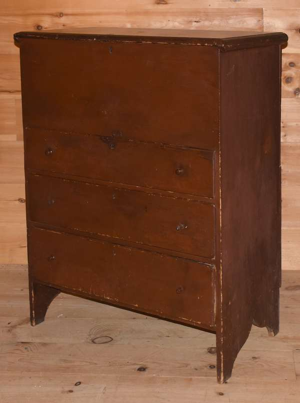 "18th C. three-drawer country blanket chest on cut-out base in Spanish brown paint, with dovetailed drawer construction, 35""W. x 49""H. x 20""D. Condition: ring mark to top and surface scratches, structure good."