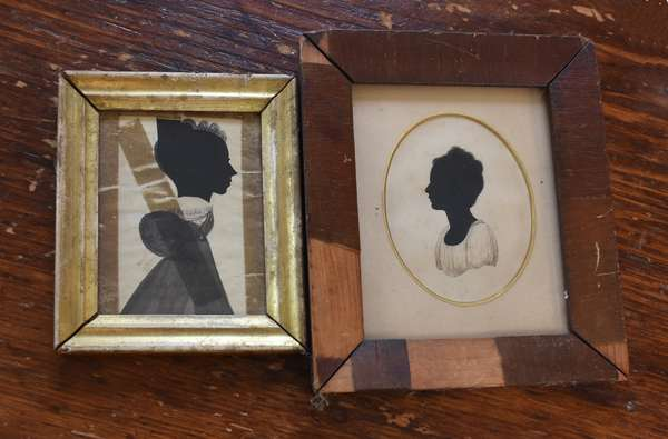 Two early 19th C. watercolor and hollow cut silhouettes of young women, 3.5