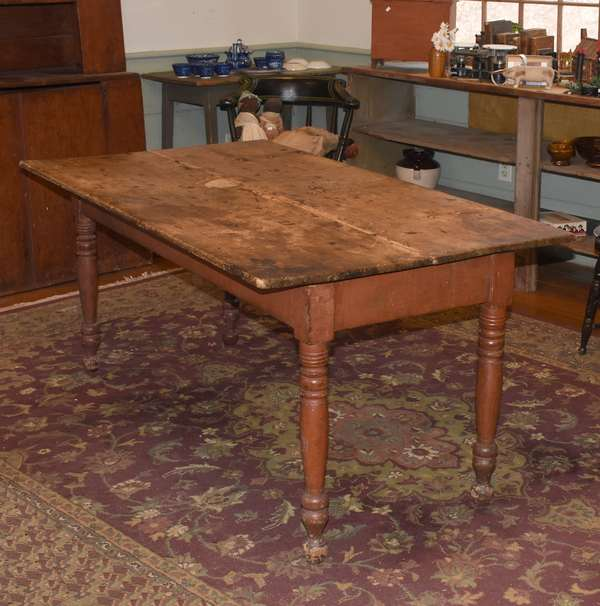 19th C. country Sheraton farm table with pine scrub top, base with turned legs in old red paint, 58.5
