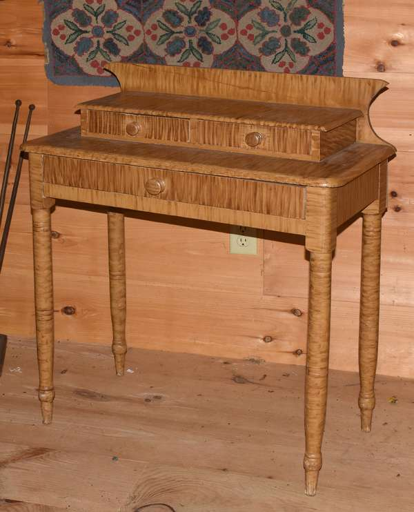 19th C. grain painted deck top dressing table, painted in faux tiger maple, with two above one dovetailed drawers, 36