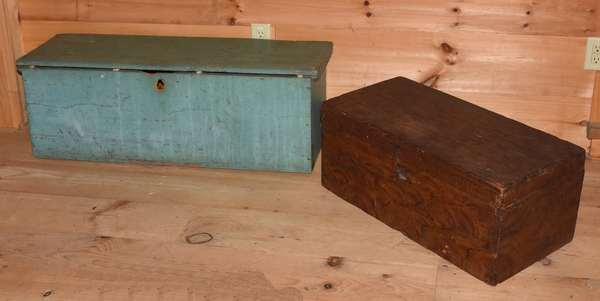 "Two 19th C. blanket boxes: 19th C. Country painted bracket box, including grain painted example, 30""L x 14.5""W x 12.5""H; with a blue-green painted example, 43""L x 15""H x 13""W. Condition: blue-green example missing hinges, lock, losses to left side, lid and back around hinges. Grain painted with shrinkage crack to top, losses to front dovetails on lid, no lock"