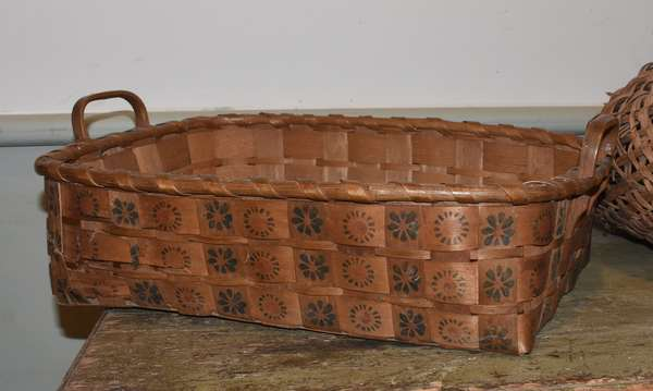 Early potato stamp basket with two handles, floral stamps, 16.75