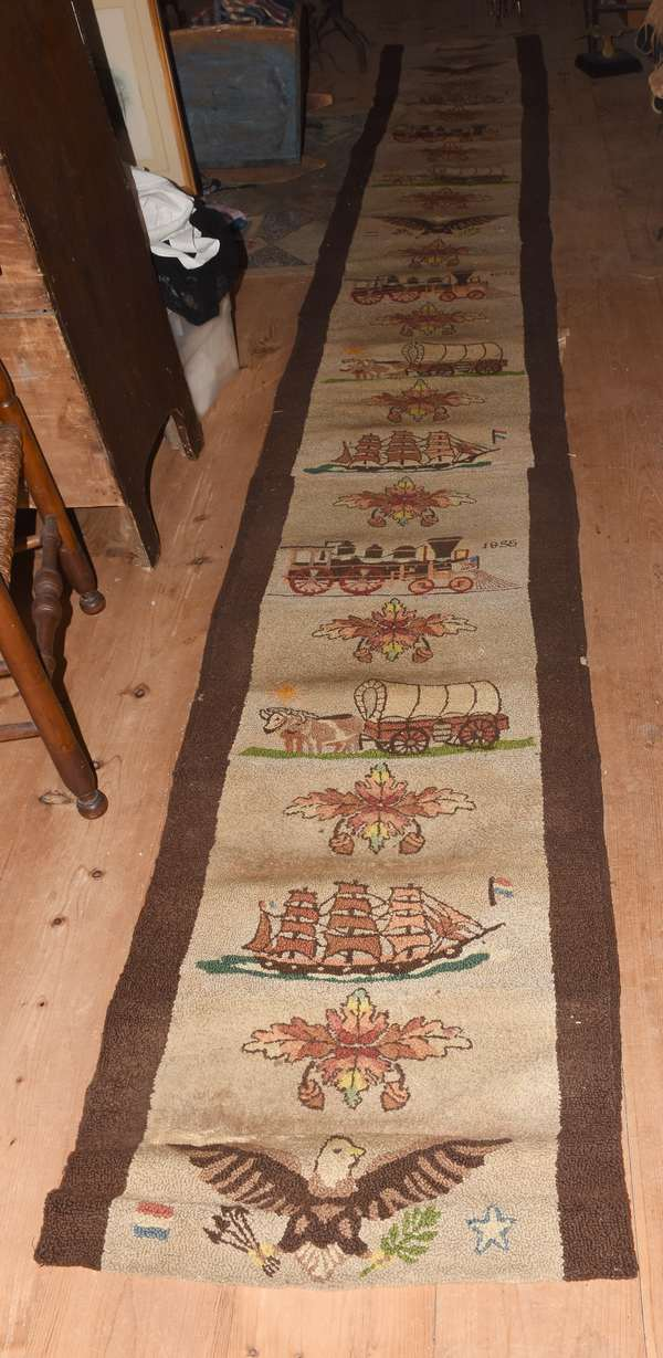 19th C hooked runner, dated May 9th 1853, and 1855, decorated with ships, eagles, trains, and the Dutch and American flag, 16'7