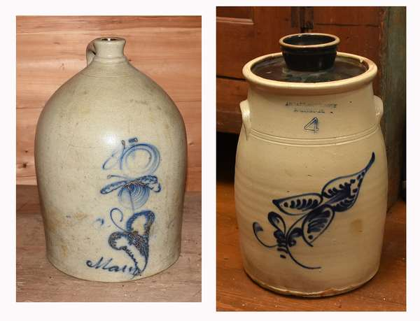 "Two pieces of decorated stoneware: four gallon stoneware butter churn by J.S. Taft Keene, NH, with floral cobalt decoration, 15""H; with a large 19th C. stoneware jug with blue cobalt decoration, reading ""Mary"", 21""H. Condition: churn with chips to inner rim. ""Mary"" with cracking on shoulder, wear to cobalt decoration."