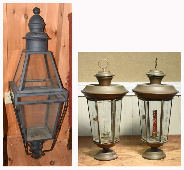 "Pair of octagonal brass candle lanterns, with etched glass panes, 20""H., with a large iron and tin post lamp, with old and new elements, 48""L. Condition: good, all glass intact."