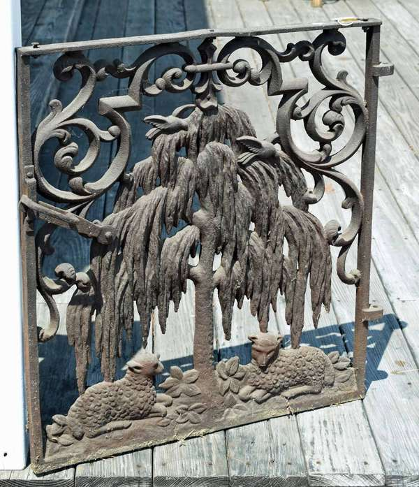 """19th C. iron gate with two lambs under willow tree, 31""""H. x 27.5""""W. Condition: rusting, break to center of upper bar, break in upper section"""