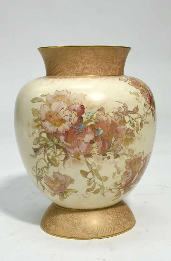 """Doulton Burslem vase, floral and gilded decoration, stamped on bottom Shreve, Crump and Low, 13""""H x 10"""" dia. Condition: three small chips to foot"""