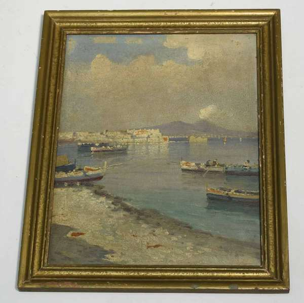 """Early 20th C oil on masonite, Mediterranean coastal landscape, 15.25"""" x 12"""", overall 18"""" x 15"""". Condition: paint loss to upper section, craquelure throughout"""