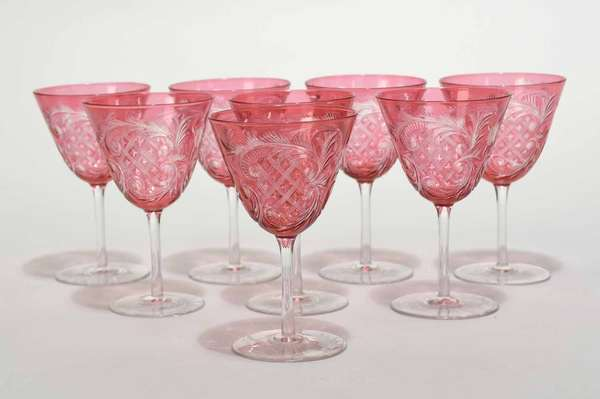 """Set of eight small size cranberry cut overlay wines, late 18th C., 4.75""""H x 3"""" dia. Condition: excellent, no chips or cracks"""