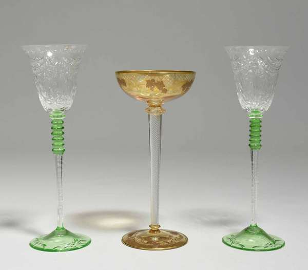 """Large Moser air twist wine with gilding, 10""""H x 4.5"""" dia.; with a pair of large wines with lime green bases, and cut decoration, 11.5""""H x 4"""" dia. Condition: very good, no chips or cracks. Some scratching"""