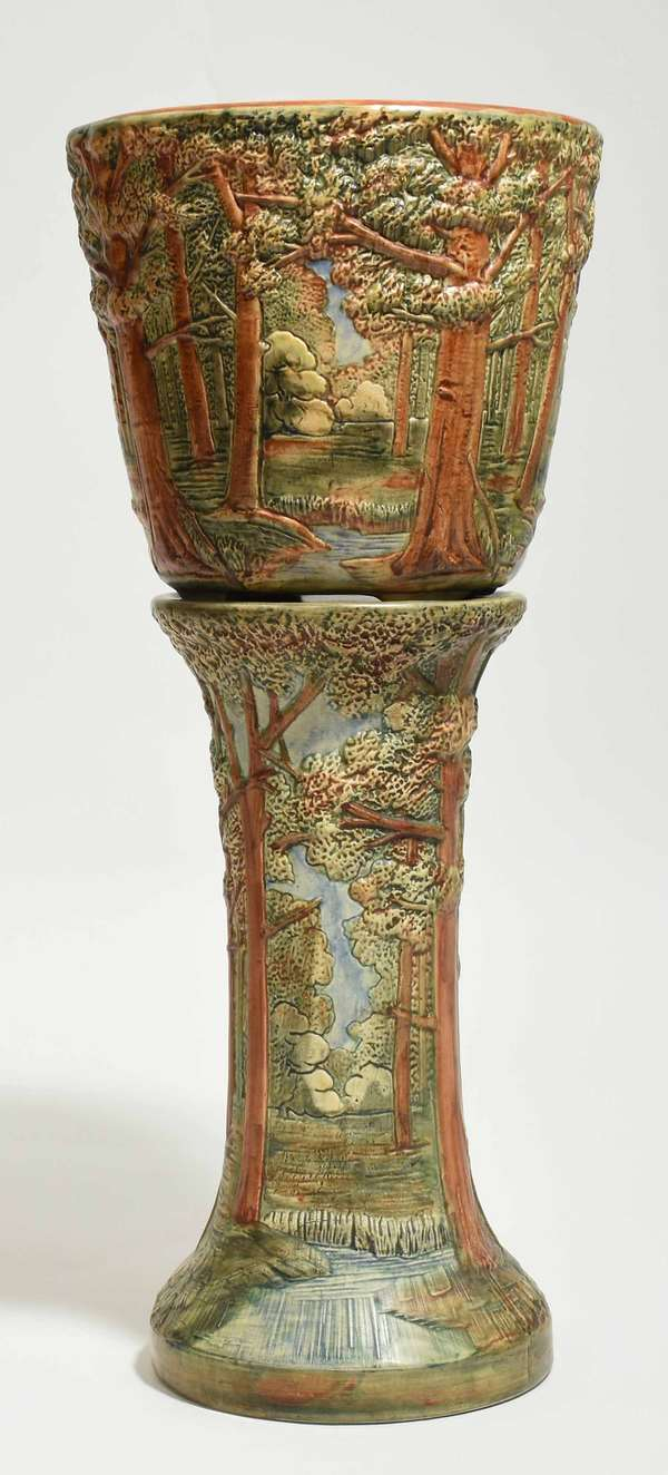 """Large Weller Pottery Jardinere on stand, Forest pattern, 29""""H x 12"""" dia. Condition: very good, no chips or cracks"""