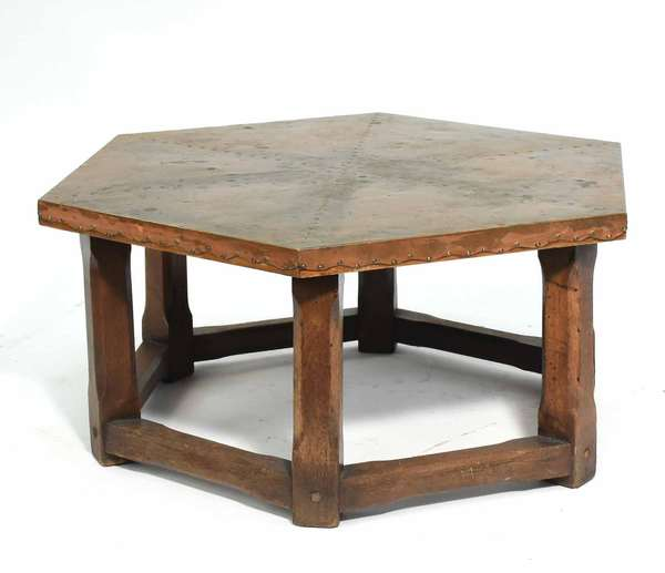 """Mission oak coffee table with hammered copper top, 29.5"""" dia. x 15""""H. Condition: overall good"""