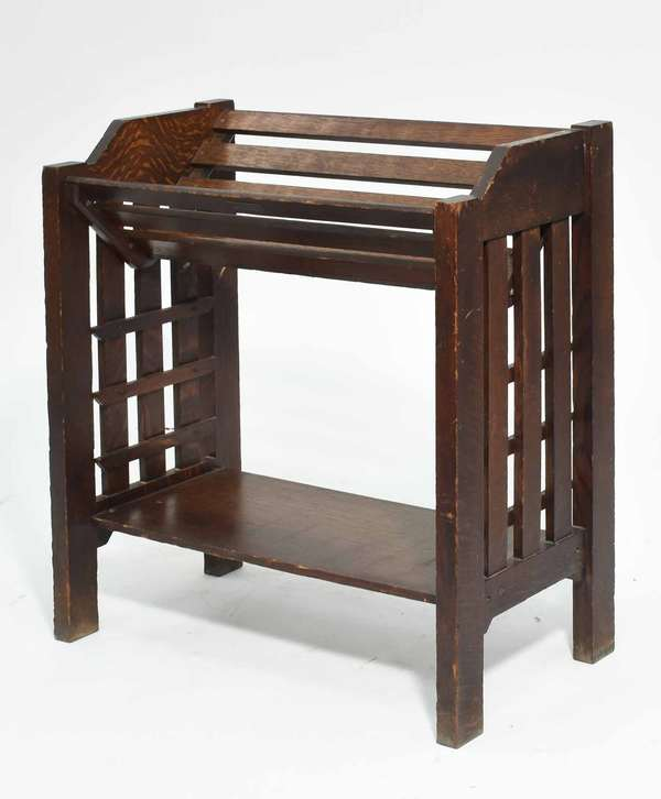 """Mission oak magazine rack, 24.5""""W x 12.5""""D 27.5""""H Condition: overall wear loss to back upper left"""
