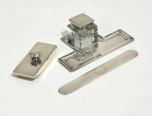 """Gorham Sterling Art Deco desk set, including ink well with sterling cap, 2""""H, letter opener 8""""L, ink blotter 4.5""""L, and tray 7""""L, Four pieces. Monogrammed. Condition: Some scuffing, small dent to tray, cap of ink well"""