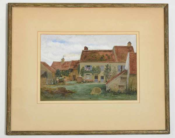 """Alexis J. Fournier (Minnesota, 1865-1948), gouache on paper, farm house, signed and dated '98 lower right. 8.5"""" x 11.5"""" sight size, 16.75"""" x 19.25"""" frame. Condition: not examined out of frame, appear good"""