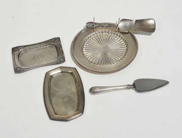 """Five Pieces of sterling including Gorham sterling plate, 6"""" dia., two small sterling trays, 5.5"""" and 4.5"""", and sterling utensil with other sterling handled piece. 6.25"""". Condition: two break to small utensil"""