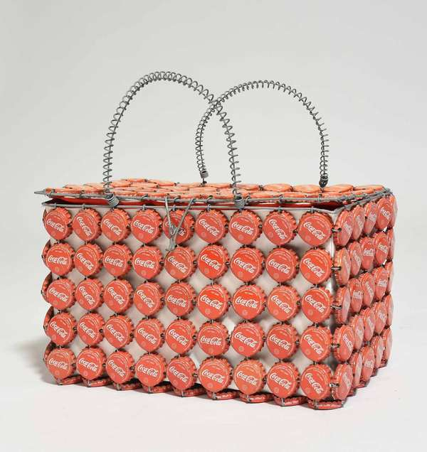 """Antique 1950s Coca Cola Bottle Cap and wire box/purse, with red cloth interior. 11""""L x 6""""W x 6.75""""H. Condition: fading to bottle caps on top"""