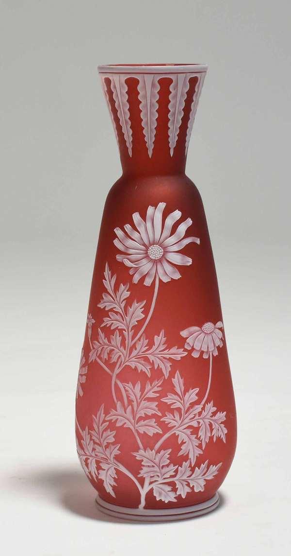 "Webb pink cameo glass vase, floral decoration, ca 1890, 8.75""H. Condition: excellent, no chips or cracks"