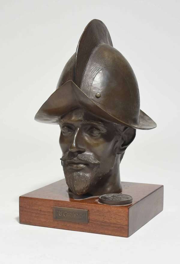 """Bronze bust titled """"El Conquistador"""" signed on reverse P. Klotz, numbered 62/176, on wooden base, 14""""H overall x 8""""W x 8""""L base. Condition: very good"""