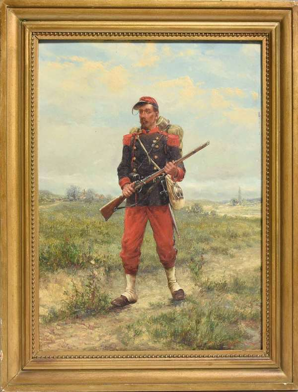 """19th C. Oil on paper board, soldier in landscape, signed lower right by Otto Farsky, 12.25"""" x 9.5"""" board, 14.75"""" x 11.75"""" overall. Condition: good, some paint loss to edge near frame"""