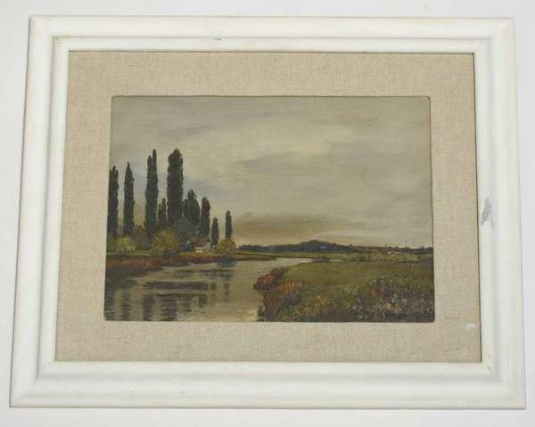 """Oil on paper board signed lower right R.C. Hawkins, European river scene, 11"""" x 15"""" sight size, 19.5"""" x 23.5"""" overall. Condition: behind glass, not examined out of frame, appears good"""