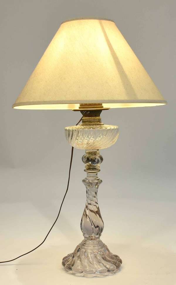 """Baccarat glass oil lamp converted to table lamp, 20""""H, 30""""H overall. Condition: good, no chips"""