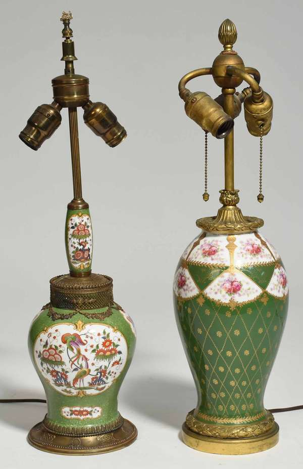 """Two French porcelain lamps with bronze mounts, 23"""" & 23.5""""H overall. Condition: some light wear to gilding on both"""
