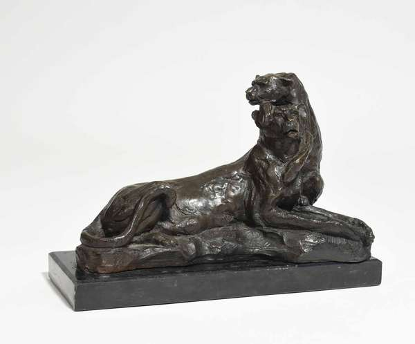 """20th C. bronze signed B.C. Zheng, Lioness and Cub, on a black marble base, 12.5""""L. x 9""""H. overall. Condition: very good"""