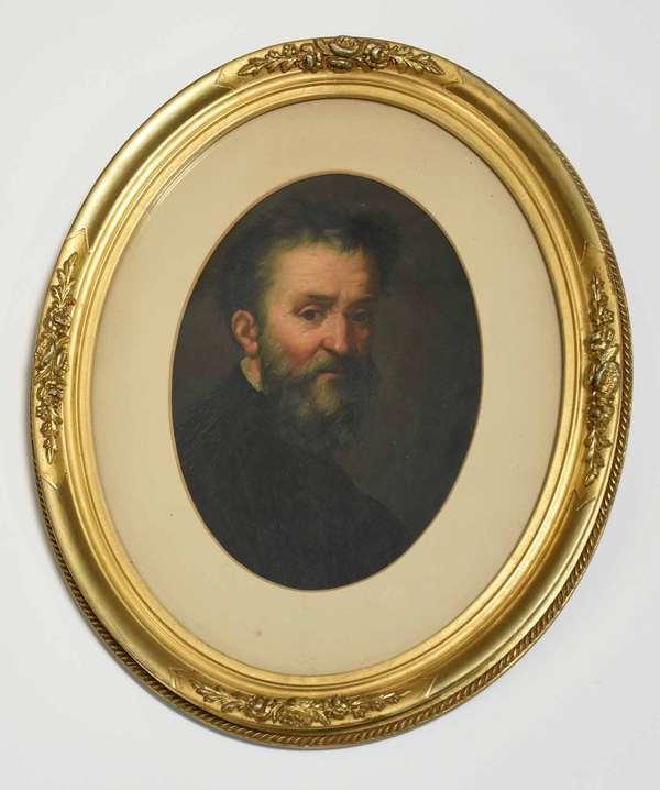 "19th C. portrait of Michelangelo on oval paper board, after Daniele Volterra, inscribed on back ""Michelangelo Buonarroti, Galleria delgi Uffizi, Firenze."" 8.25"" x 6.75"", frame 11.5"" x 9.5"". Condition: craquelure, three areas of loss around edge"
