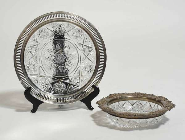 """Two good sterling and cut glass pieces, Tiffany & Co. candy bowl, 9"""" dia, along with larger 11"""" platter, both reticulated edges. Condition: good, minor chipping"""