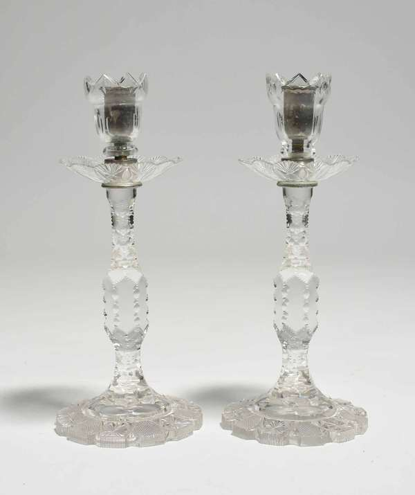 """Pair of antique cut glass candlesticks, 11""""H. Condition: some minor chipping to tops"""