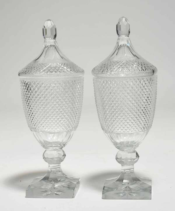 """Pair of antique Cut glass lidded urns, 12.75""""H x 4.5"""" dia. Condition: chip to rim and two chips to base of one, other with scatted tiny chips to rim, two to base"""