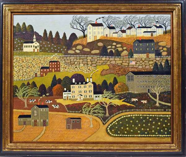 """Charles Wysocki (US, 1928-2002) oil on canvas, """"Maine Community"""", dated 1967, stretcher 24"""" x 30"""", with frame 30"""" x 36"""". Exhibited at Triton Museum of Art, San Jose CA.;  J. Walter Thompson art collection NYC, Antique Associates, to present owner. Goldman collection, Condition: very good."""