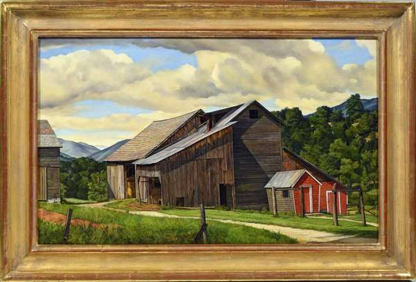 "Luigi Lucioni  (Italy, VT, 1900-1988) oil on canvas, ""The Weathered Barn"", signed and dated 1947. Crisp and colorful interpretation of Lucioni's most coveted subject, barns in the Vermont landscape. In gilt frame. Provenance: Associated American Artists, Hirschl and Adler Galleries NY, Richard York Gallery 2001, Goldman Collection. See literature and gallery labels. 19.25"" x 30.75"", overall size 25"" x 37"".  Condition: excellent."