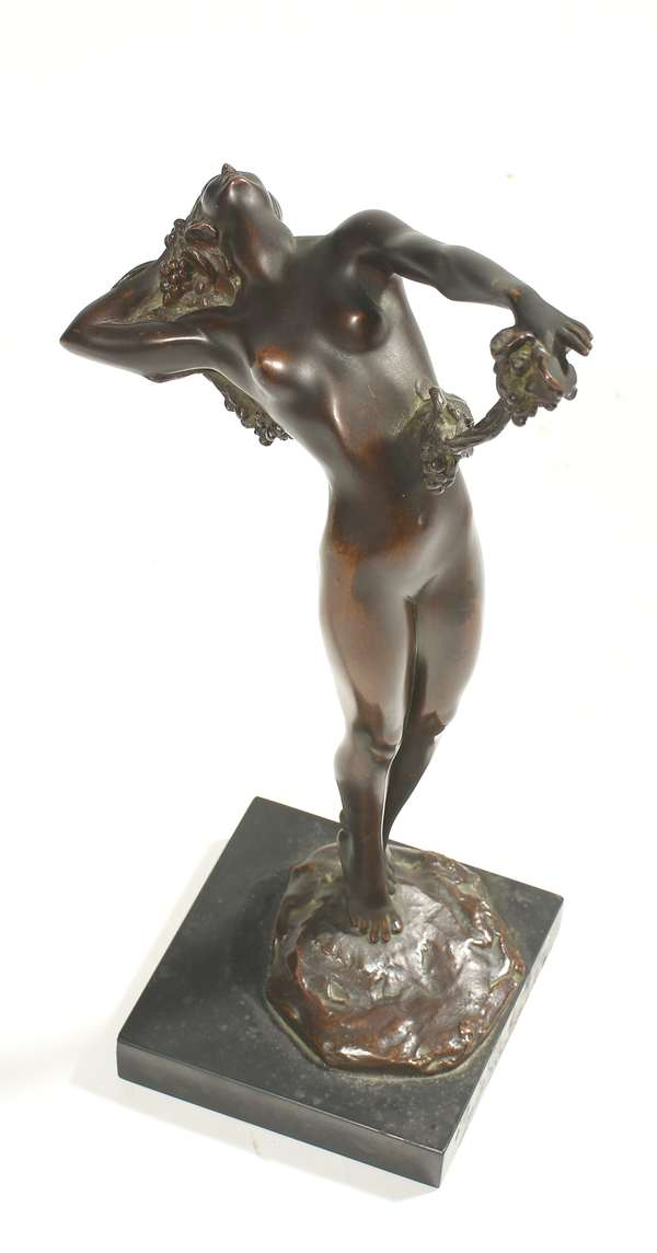 "Harriet Whitney Frishmuth (NY, 1880 - 1980) bronze sculpture, ""The Vine,"" signed and dated 1921, Gorham foundry, on marble base, 13""H. Condition: good original bronze finish."