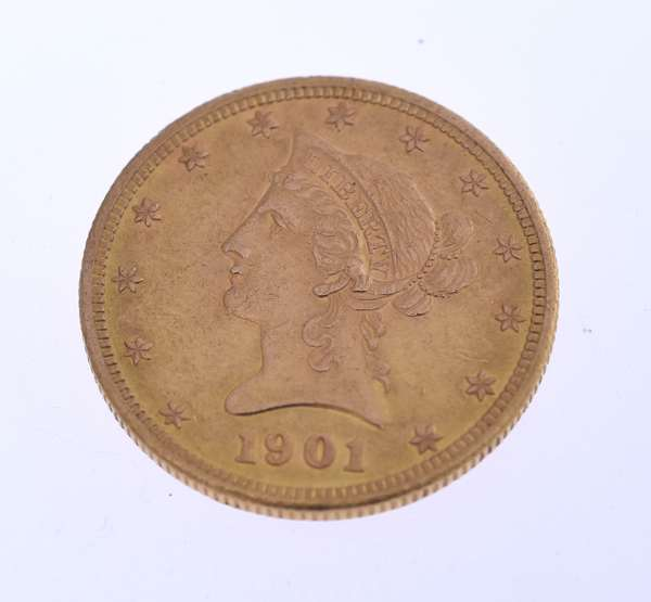 U.S. $10 dollar gold coin, 1901. Condition: good.