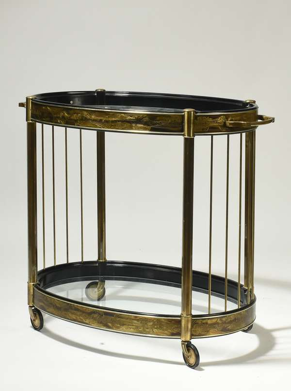 """Bernhard Rhone for Mastercraft bar cart, acid etched brass and glass, 36""""L x 22""""W x 31.5""""H. Condition: minor tarnishing to brass, overall good."""