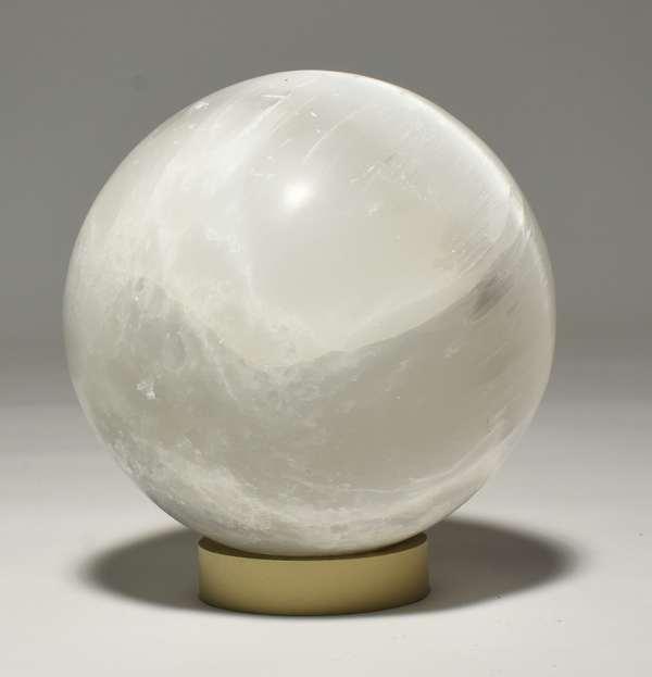 "Selenite stone orb, 7.5"" dia. Condition: surface abrasions, minor nicks."