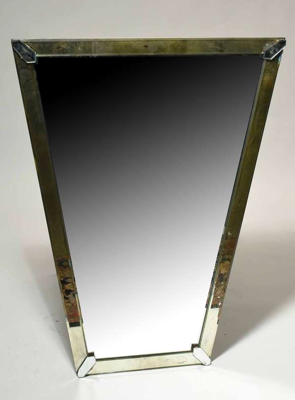 """Vintage Art Deco wall mirror trapezoidal shape, 43""""H. x 34""""W. top to 19""""W. bottom. Condition: some chipping to corners."""