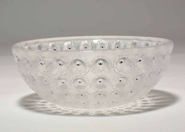 """Lalique Nemours crystal bowl, 10"""" dia., signed on bottom. Condition: very minor surface abrasions."""