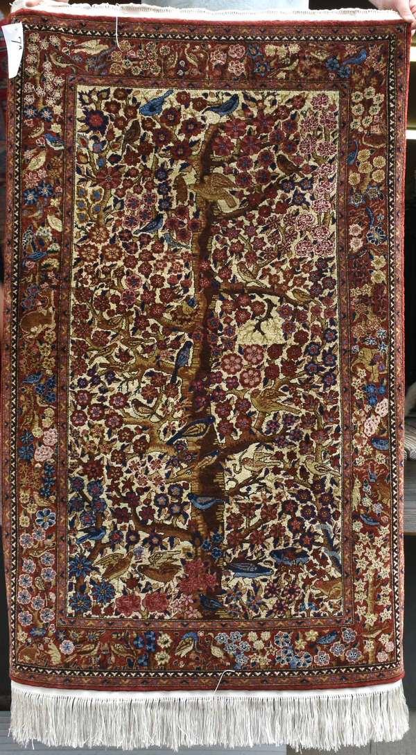 "Contemporary silk Oriental rug, ""Tree of Life"",  5' x 3'. Condition: good."