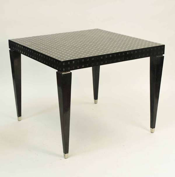"""Custom-made Deco style center table, thinly veneered stone and stainless steel tiles. 36""""L x 36""""W x 29""""H. Condition: minor chipping and surface abrasions."""