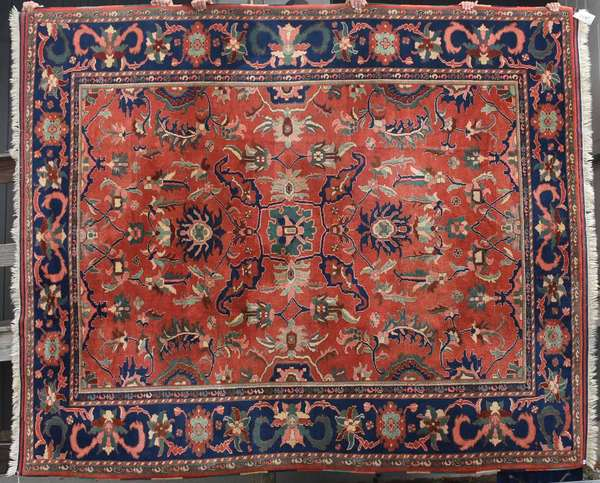 """Room size Oriental rug, open red field, 11' x 9'2"""".  Condition: good, clean condition."""