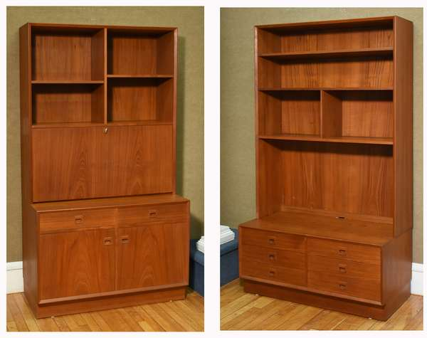 """Two Brover Danish teak wood cabinets, one example with fall front desk surface, shelveing above, and drawers and doors below, two part, 39.5""""W x 72.75""""H x 19.5""""D; other example with shelves above and six drawers below. 39.5""""W x 73""""H x 19.5""""D. Condition: scratching to surfaces, some nicks to front edge of second example."""