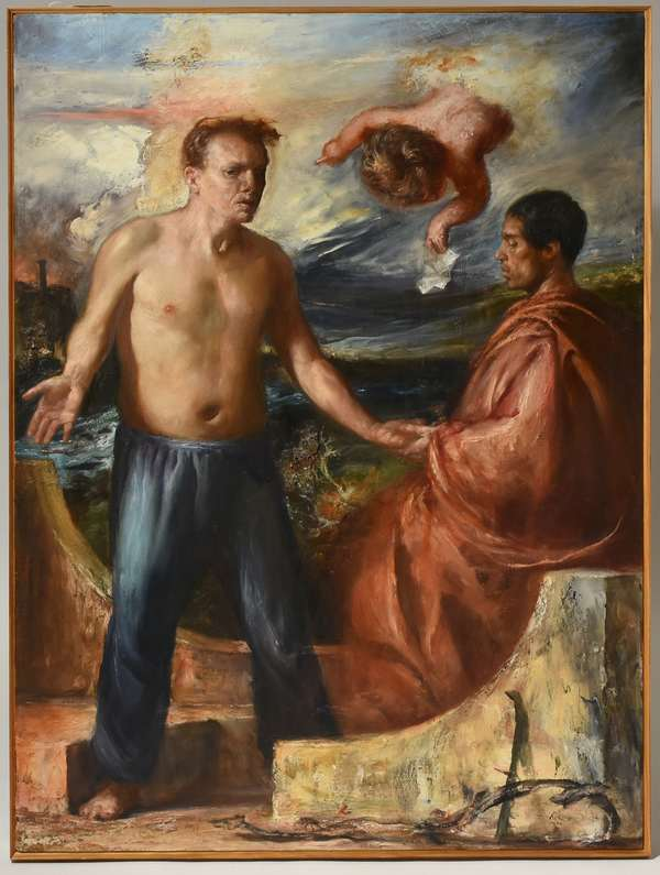 """Damon Lehrer oil on canvas, figures in landscape, """"Fortune Teller"""", initialed DL lower right, 1994, 50"""" x 36"""". Condition: very good."""