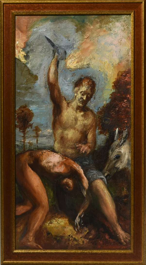 """Damon Lehrer oil, Abraham and Isaac, signed and dated lower right, 1994. 24"""" x 12"""". Condition: very good"""