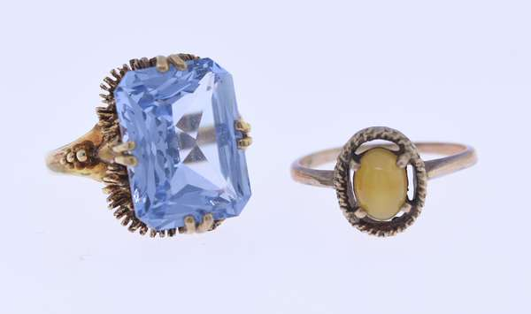 Two rings: 9K gold ring set with blue topaz, size 6.25, along with a 10K gold ring with cat's eye stone, size 6.75. Condition: good.