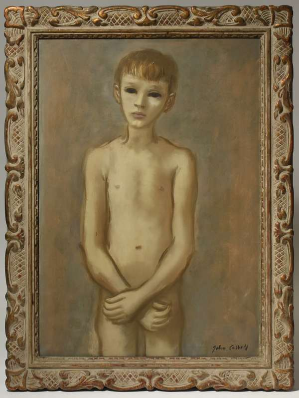 """John W. Carroll (NY, 1892-1959) oil on canvas, portrait of young boy, signed lower right, 25"""" x 36"""". Condition: light scratch to torso."""