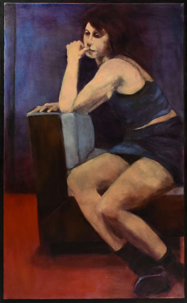 """Kendra O'Donnell (NH, b. 1944) oil on canvas, """"Lady in Blue"""", 1998, signed lower right, exhibited work, 30"""" x 56"""". Condition: very good."""
